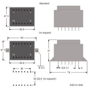 EI54_TRR_Trasformatori_Quote_Transformers dimensions