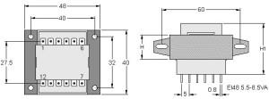EI48 TRG Trasformatori a Giorno Quote-Open Transformers dimensions