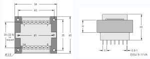 EI54 TRG Trasformatori a Giorno Quote-Open Transformers dimensions