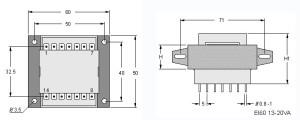 EI60 TRG Trasformatori a Giorno Quote-Open Transformers dimensions