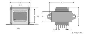 EI66 TRG Trasformatori a Giorno Quote-Open Transformers dimensions